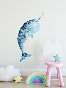 Happy Narwhal Watercolor Wall Decal Removable Fabric Vinyl Wall Sticker