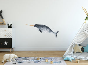 Watercolor Narwhal #2 Wall Decal Watercolor Wall Sticker Realistic Narwhale Beluga Whale Tusk Horn Arctic Ocean Sea | DecalBaby
