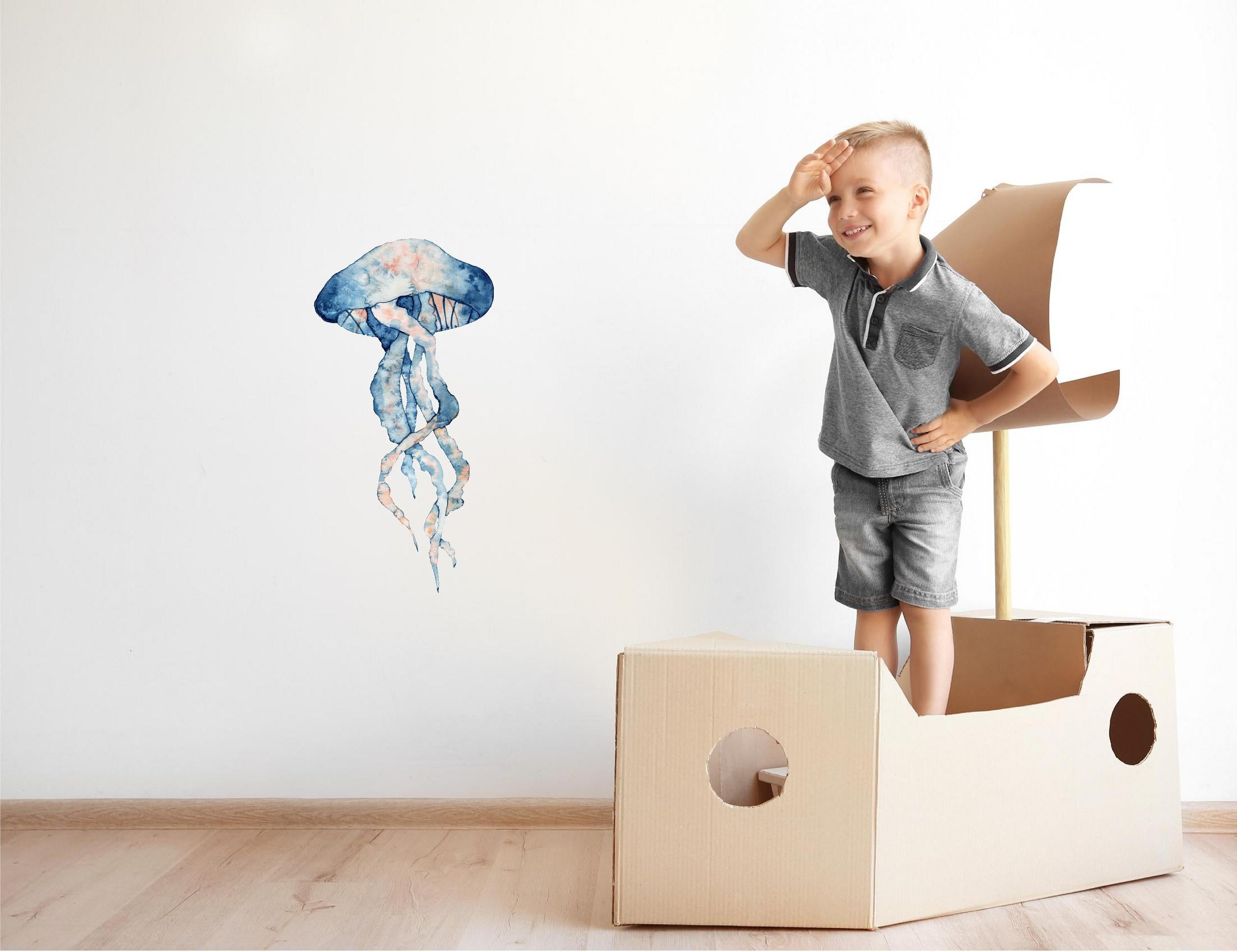 Watercolor Navy Blue & Orange Jellyfish Wall Decal Under the Sea Ocean Fish Wall Sticker | DecalBaby