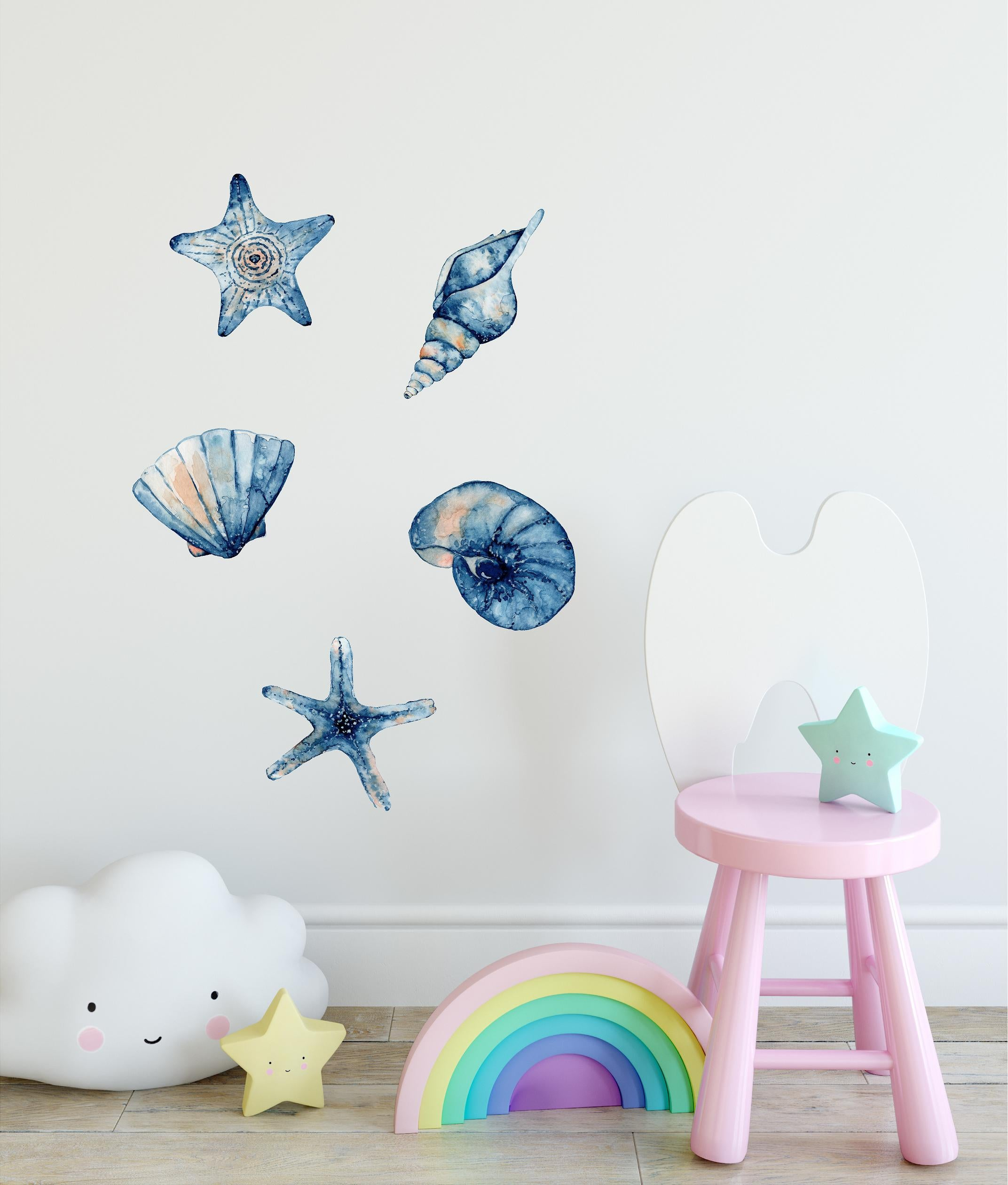 Watercolor Navy Blue Seashells & Starfish Wall Decal Set Ocean Sea Life Wall Art Sticker | DecalBaby