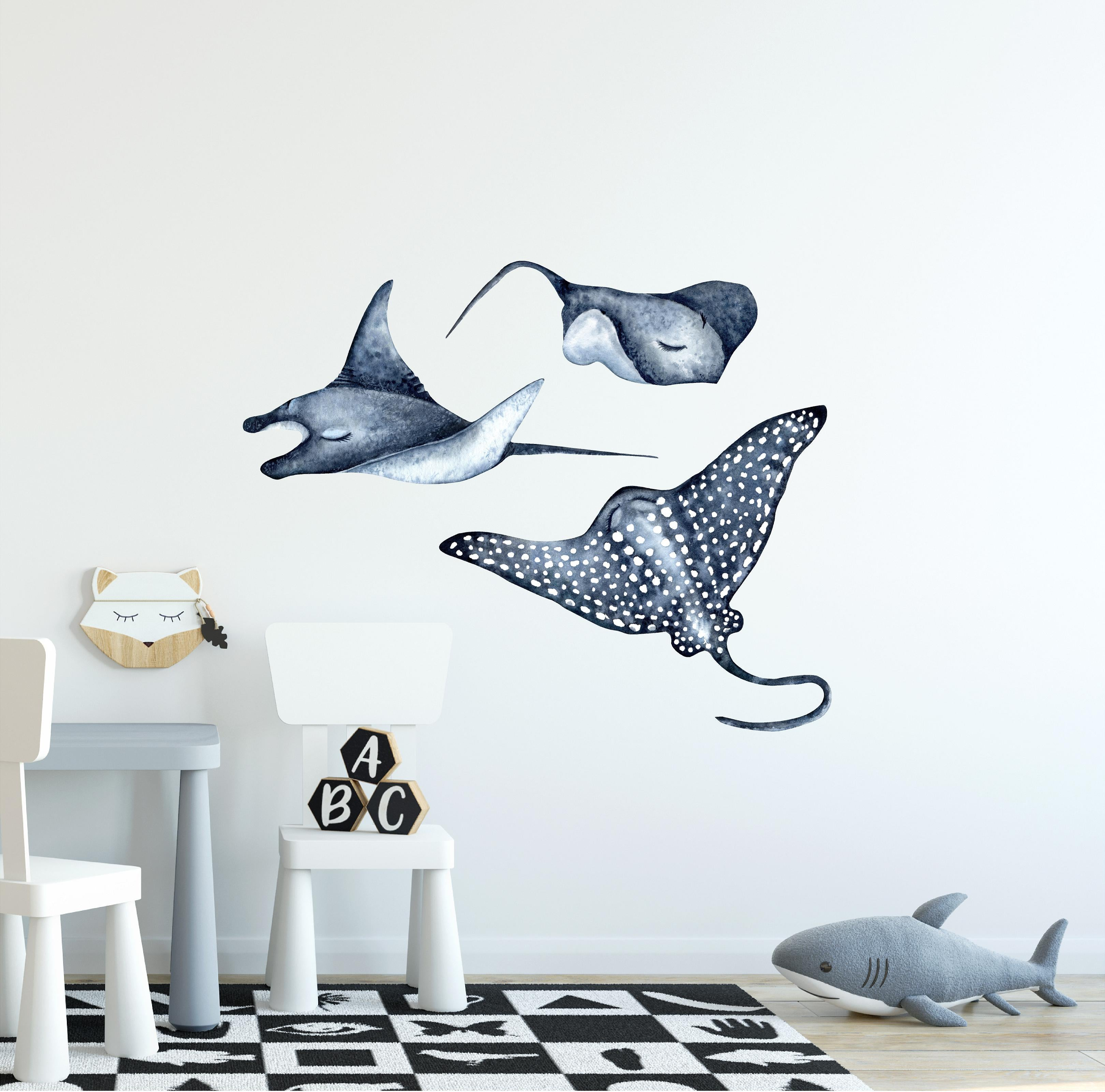 Stingray, Manta Ray & Spotted Eagle Ray Wall Decal Set of 3, Watercolor Navy Stingrays Wall Sticker Sea Ocean Fish | DecalBaby