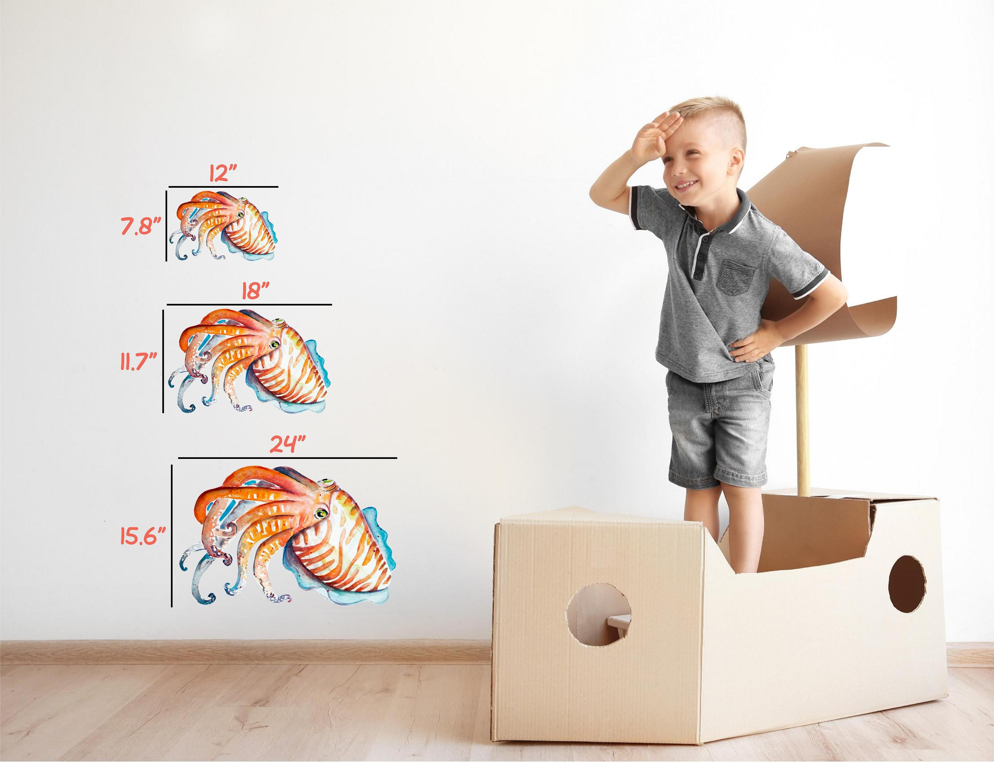 Watercolor Orange Cuttlefish Wall Decal Removable Watercolor Baby Squid Sea Animal Fabric Vinyl Wall Sticker | DecalBaby