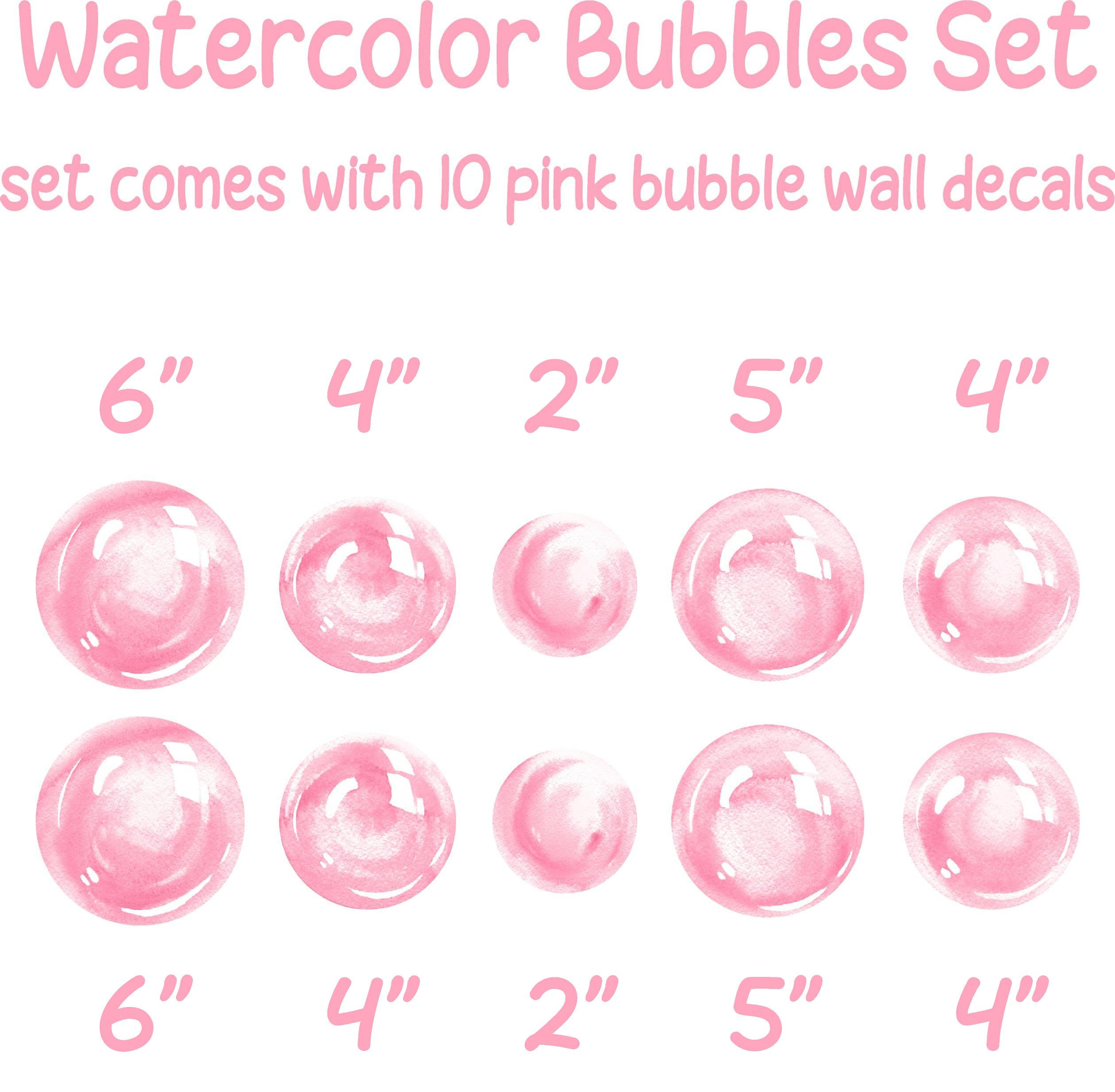 Watercolor Pink Bubbles Wall Decal Set Bubbles Wall Stickers Wall Art Nursery Decor Removable Fabric Vinyl Wall Stickers SIZE SMALL | DecalBaby