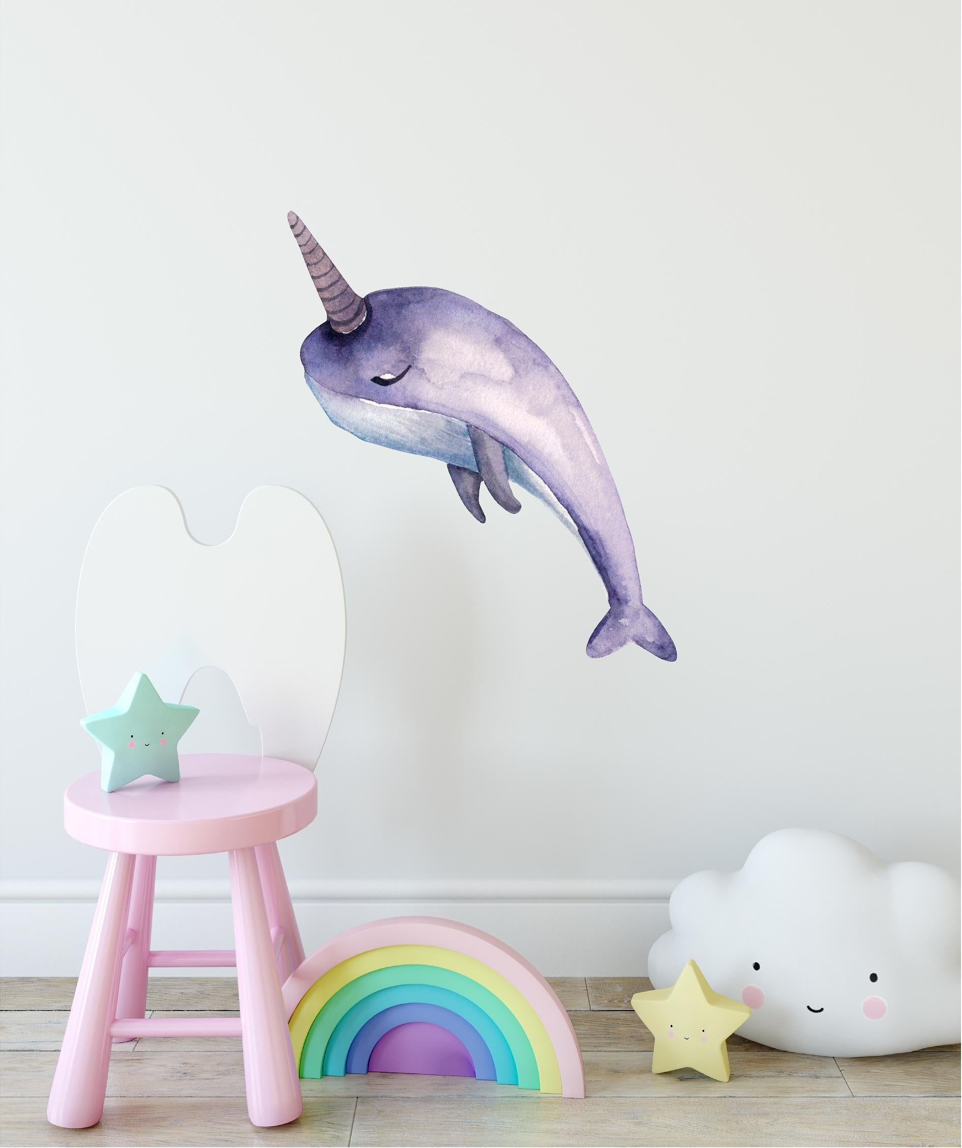 Purple Narwhal Wall Decal Removable Fabric Vinyl Cute Watercolor Sea Animal Unicorn Wall Sticker | DecalBaby