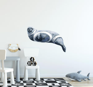 Watercolor Ribbon Seal Wall Decal Arctic Sea Animal Seal Pacific Ocean Striped Seal Wall Sticker | DecalBaby
