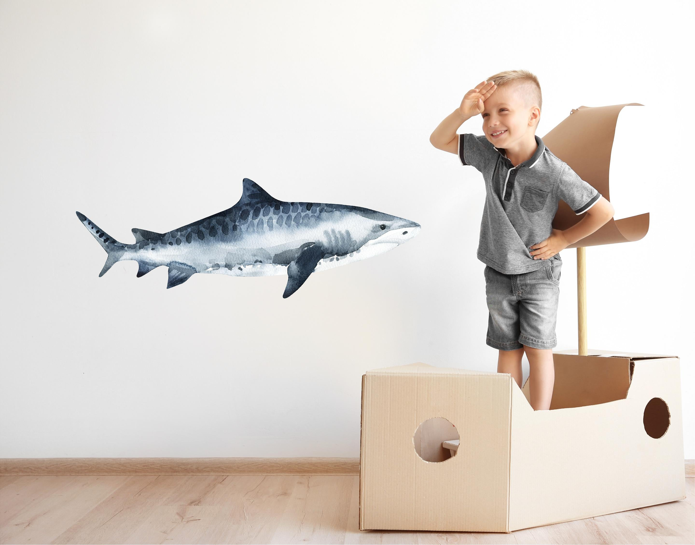 Watercolor Tiger Shark Wall Decal Removable Sea Animal Fabric Vinyl Wall Sticker