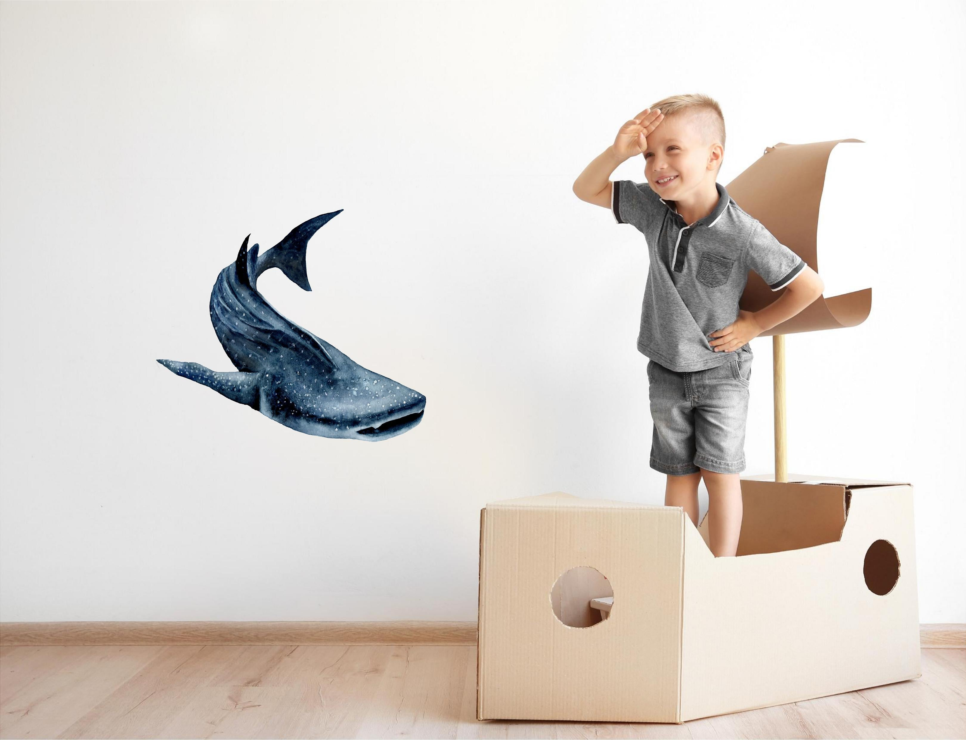 Watercolor Whale Shark #3 Wall Decal Removable Sea Animal Fabric Vinyl Wall Sticker | DecalBaby