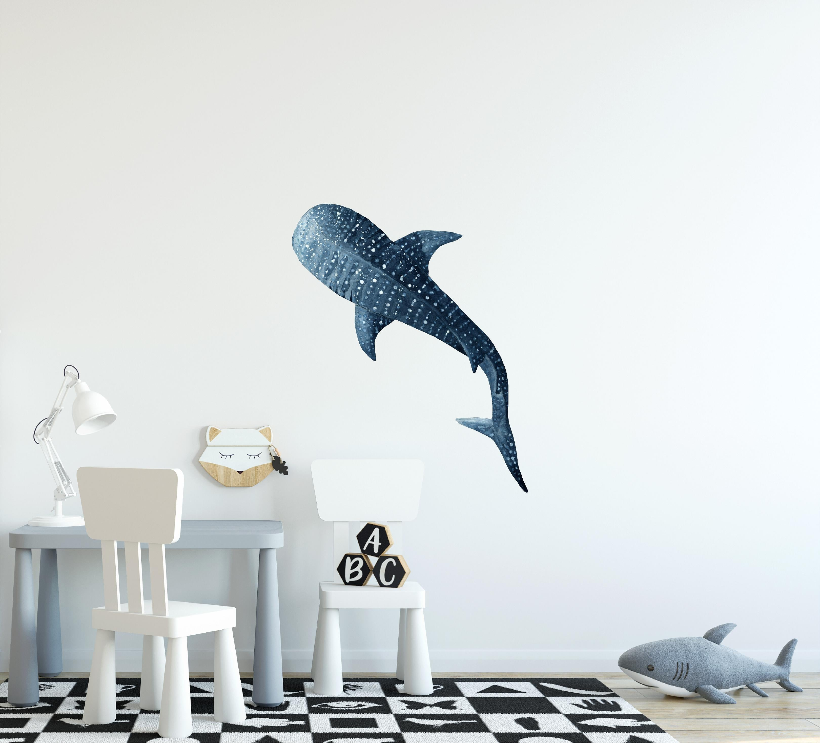 Watercolor Whale Shark #4 Wall Decal Removable Sea Animal Fabric Vinyl Wall Sticker | DecalBaby