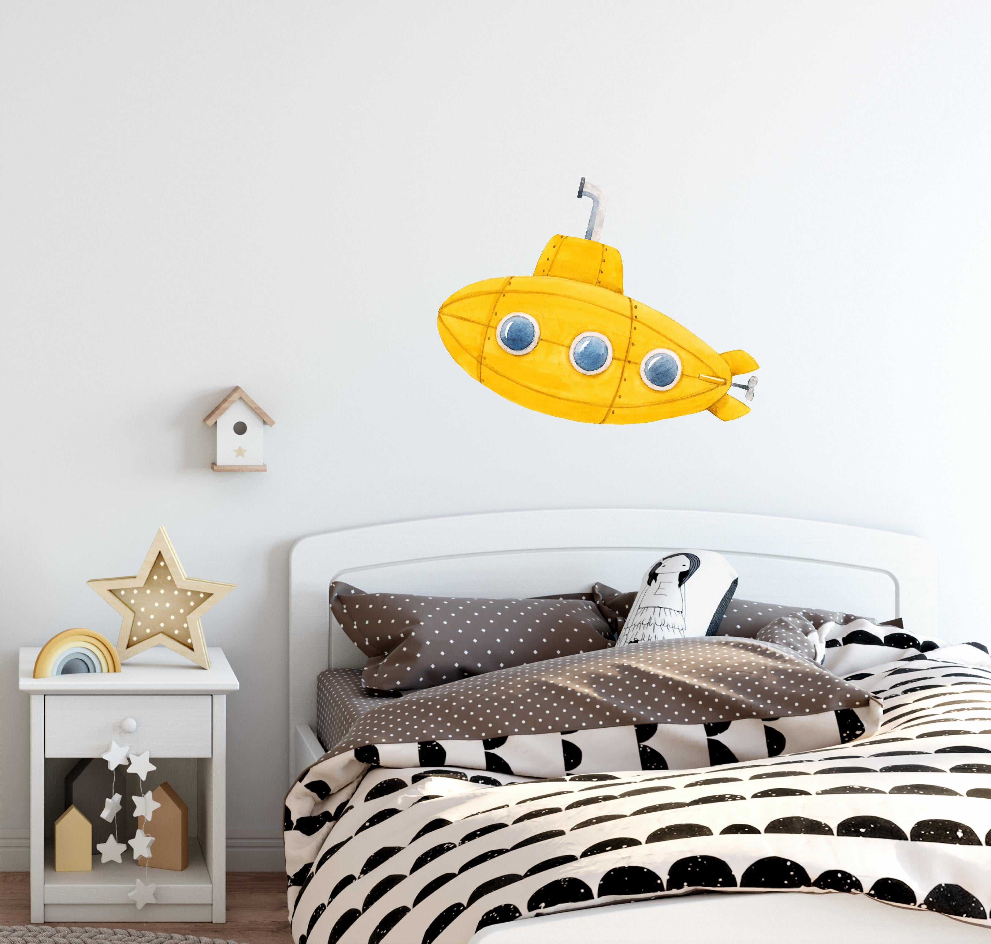 Yellow Submarine Wall Decal Watercolor Underwater Ship Deep Sea Explorer Wall Sticker | DecalBaby
