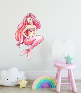 Watercolor Pink Mermaid Wall Decal Mermaid Wall Sticker | DecalBaby