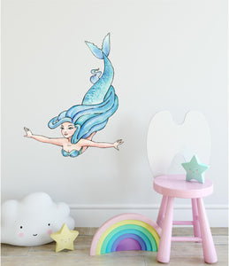 Watercolor Blue Mermaid Wall Decal Mermaid Wall Sticker | DecalBaby