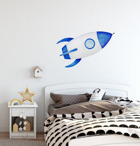 Watercolor Blue Spaceship Wall Decal Space Rocket Wall Sticker Space Ship Fabric Vinyl Wall Sticker | DecalBaby