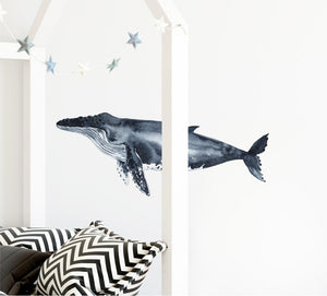 Humpback Whale #5 Wall Decal Removable Fabric Vinyl Watercolor Sea Animal Wall Sticker | DecalBaby