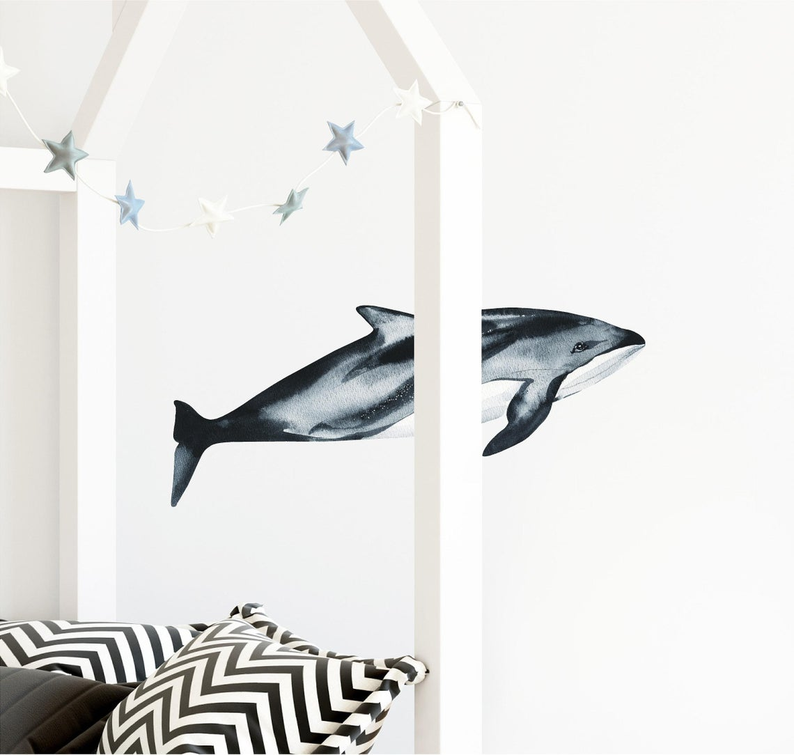 Pacific White-Sided Dolphin Wall Decal Removable Fabric Vinyl Watercolor Ocean Sea Animal Wall Sticker | DecalBaby