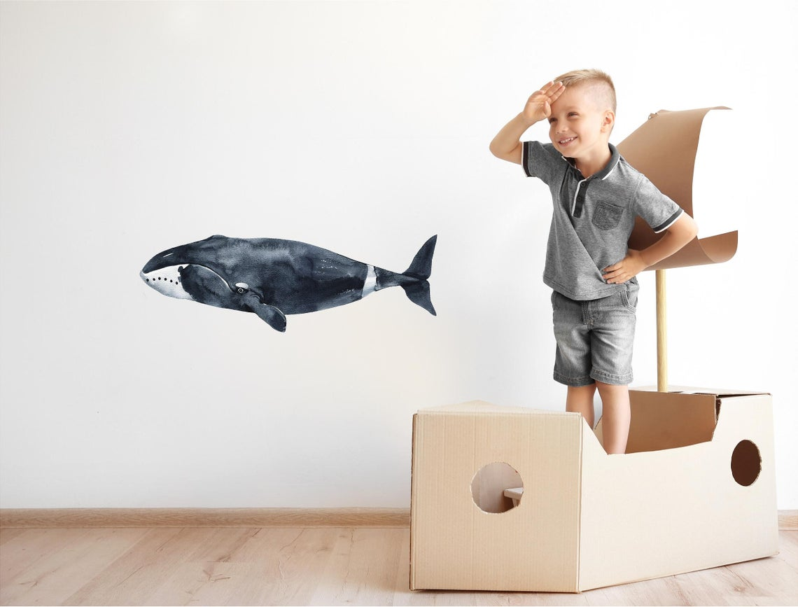 Watercolor Bowhead Whale Wall Decal Removable Fabric Vinyl Ocean Deep Sea Animal Wall Sticker | DecalBaby