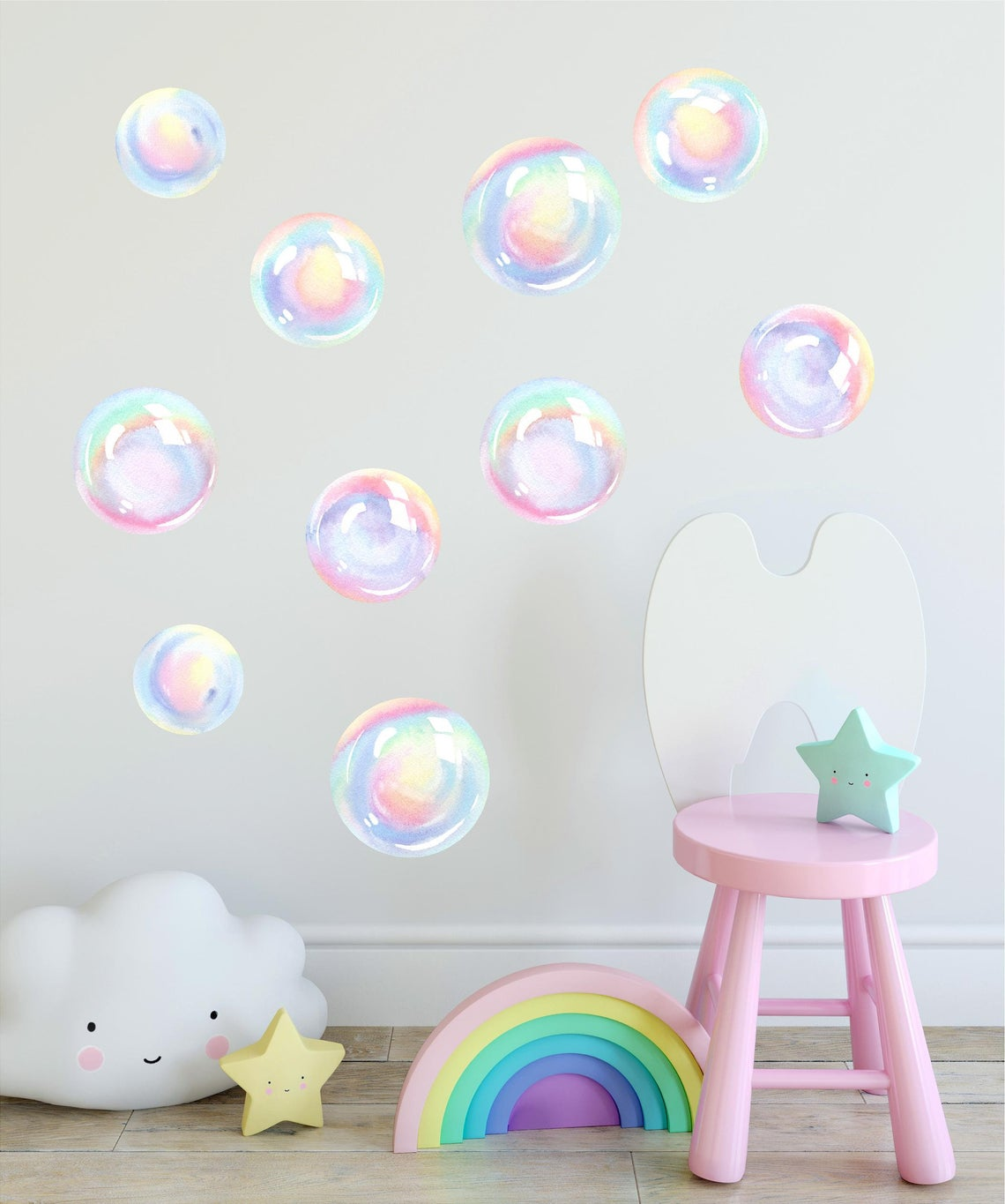 Watercolor Rainbow Bubbles Wall Decal Set Bubbles Wall Stickers Wall Art Nursery Decor Removable Fabric Vinyl Wall Stickers SIZE LARGE | DecalBaby