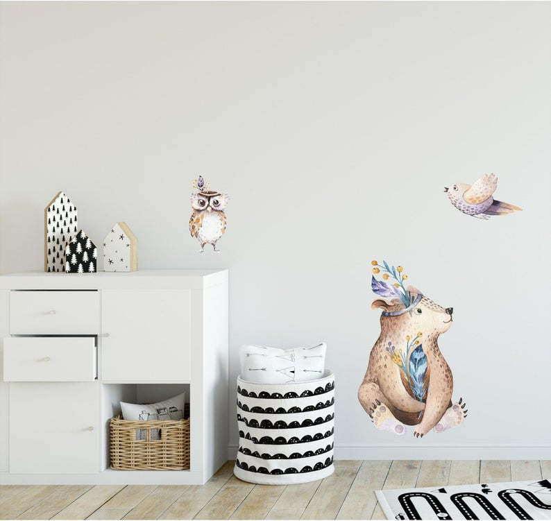 Woodland Forest Animals Wall Decal Set Removable Fabric Vinyl Wall Stickers Nursery Decor