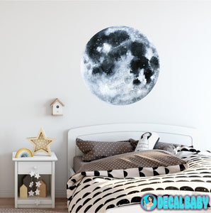 Moon Wall Decal Removable Watercolor Solar System Planets Space Fabric Vinyl Wall Sticker Boys Nursery