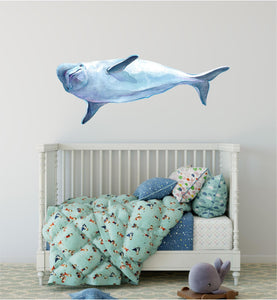 Watercolor Beluga Whale 1 Wall Decal Removable Sea Animal Fabric Vinyl Wall Sticker