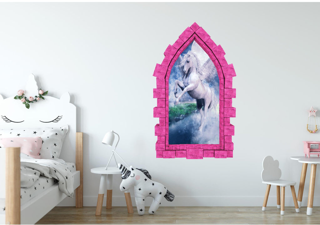 3D Castle Window Moonlight Unicorn Wall Decal Removable Fabric Vinyl Wall Sticker