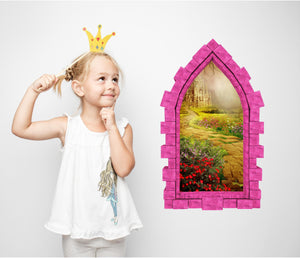 3D Castle Window Yellow Brick Road Castle Wall Decal Fantasy Removable Fabric Vinyl Wall Sticker