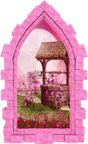 3D Castle Window Magic Wishing Well Wall Decal Fairy Tale Removable Fabric Vinyl Wall Sticker