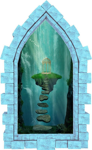 3D Castle Window Floating Gazebo Wall Decal Fantasy Removable Fabric Vinyl Wall Sticker