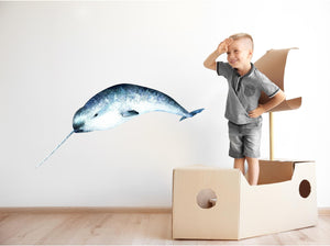 Watercolor Narwhal Wall Decal Blue Sea Unicorn Removable Fabric Vinyl Wall Sticker