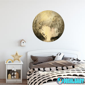 Planet Pluto Wall Decal Removable Watercolor Solar System Planets Space Fabric Vinyl Wall Sticker Boys Nursery