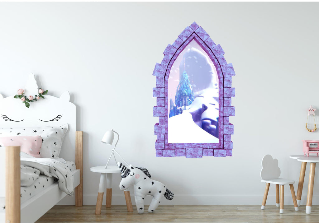 3D Castle Window Frozen Castle Elsa Wall Decal Disney Removable Fabric Vinyl Wall Sticker