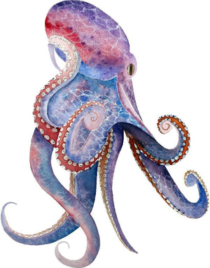 Watercolor Octopus Wall Decal Whimsical Removable Fabric Vinyl Wall Sticker