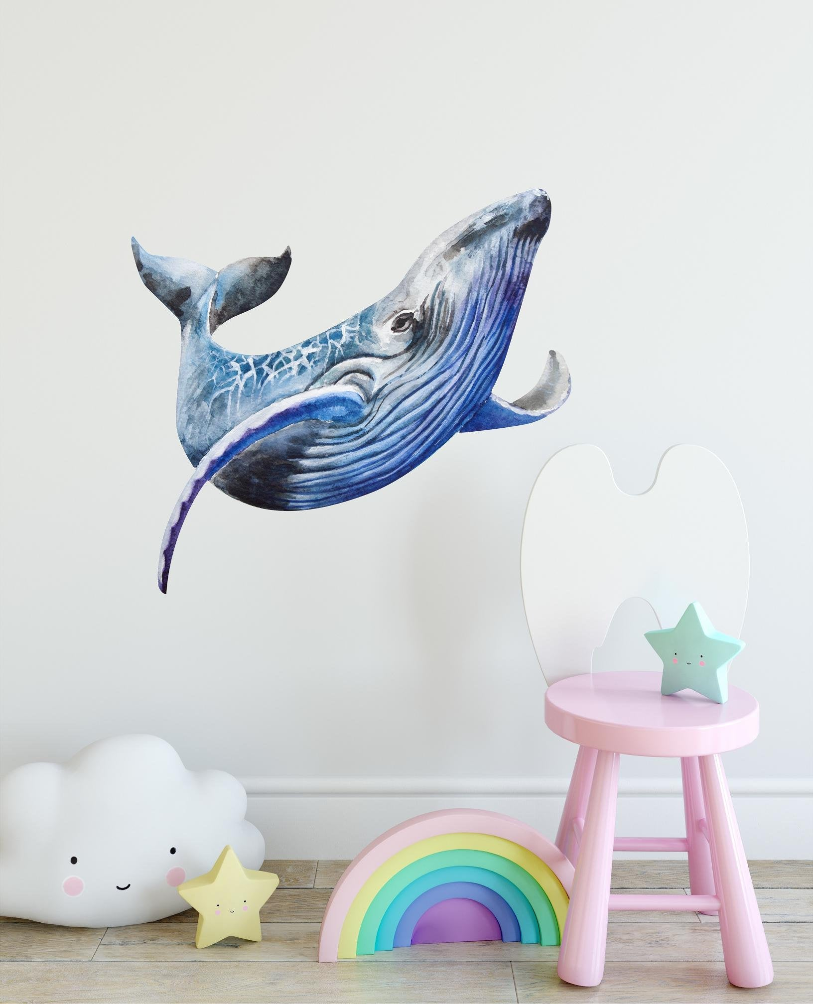 Humpback Whale #1 Wall Decal Removable Watercolor Sea Animal Fabric Vinyl Wall Sticker