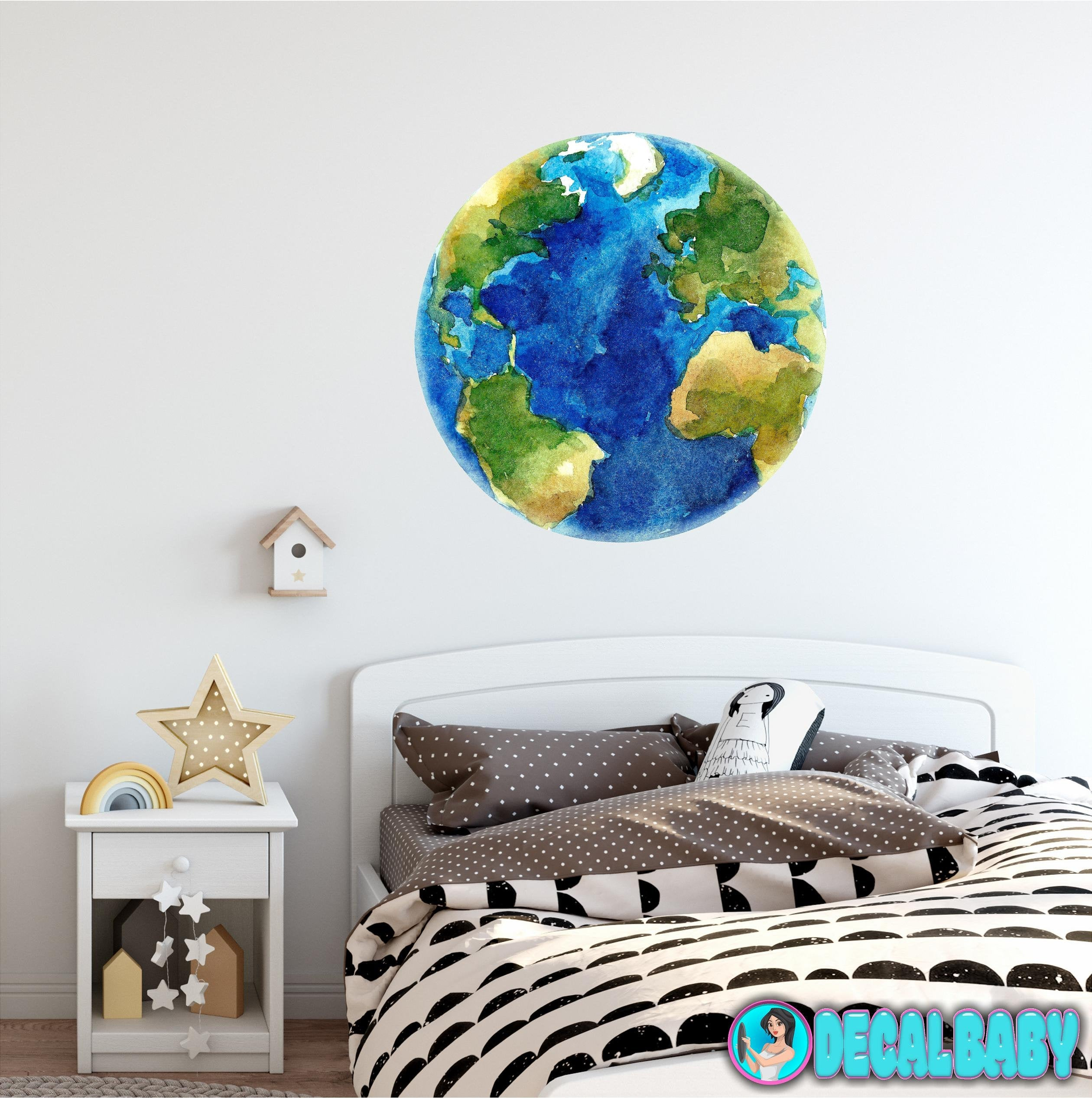 Planet Earth Wall Decal Removable Watercolor Solar System Planets Space Fabric Vinyl Wall Sticker Boys Nursery