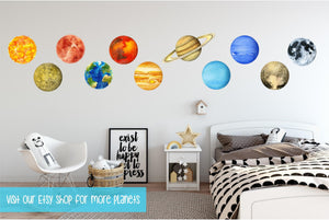Planet Venus Wall Decal Removable Watercolor Solar System Planets Space Fabric Vinyl Wall Sticker Boys Nursery