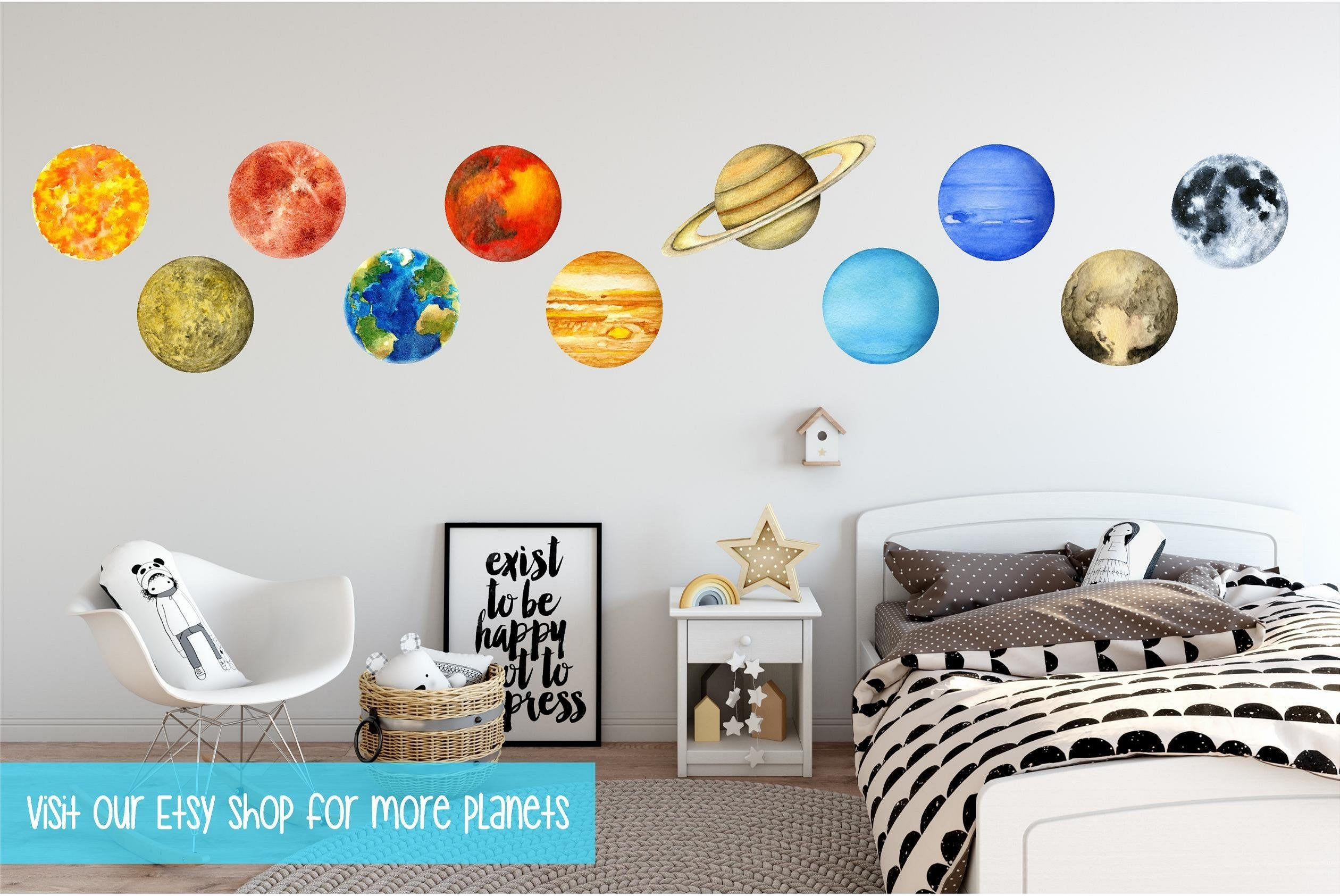 Planet Mars Wall Decal Removable Watercolor Solar System Planets Space Fabric Vinyl Wall Sticker Boys Nursery