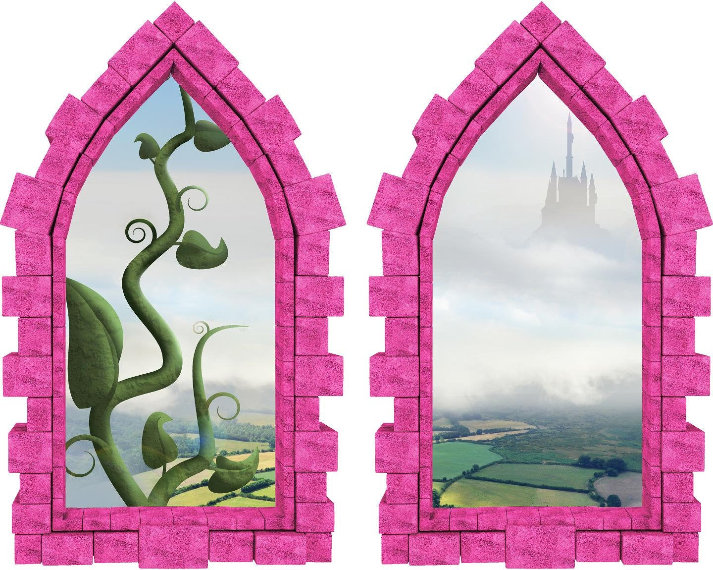 3D Castle Window Jack and the Giant Beanstalk Wall Decal Set of 2 Removable Fabric Vinyl Fantasy Wall Sticker