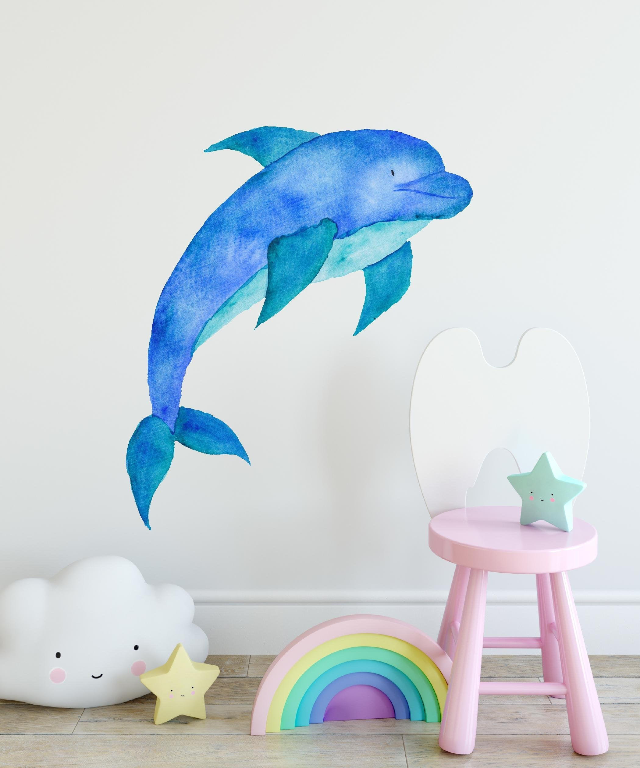 Baby Dolphin Watercolor Wall Decal Removable Fabric Vinyl Cute Sea Animal Wall Sticker