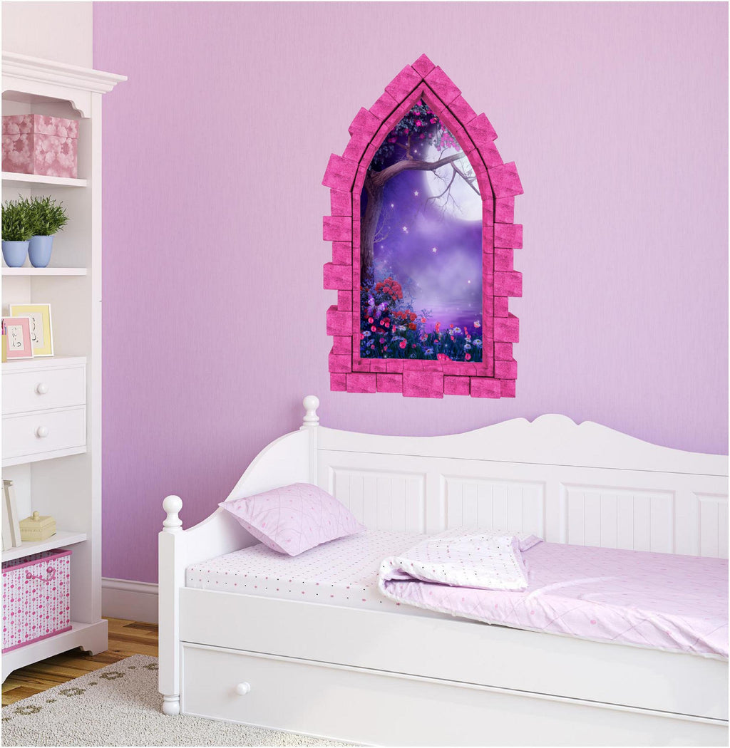 3D Castle Window Foggy Purple Moonlight Wall Decal Removable Fabric Vinyl Wall Sticker