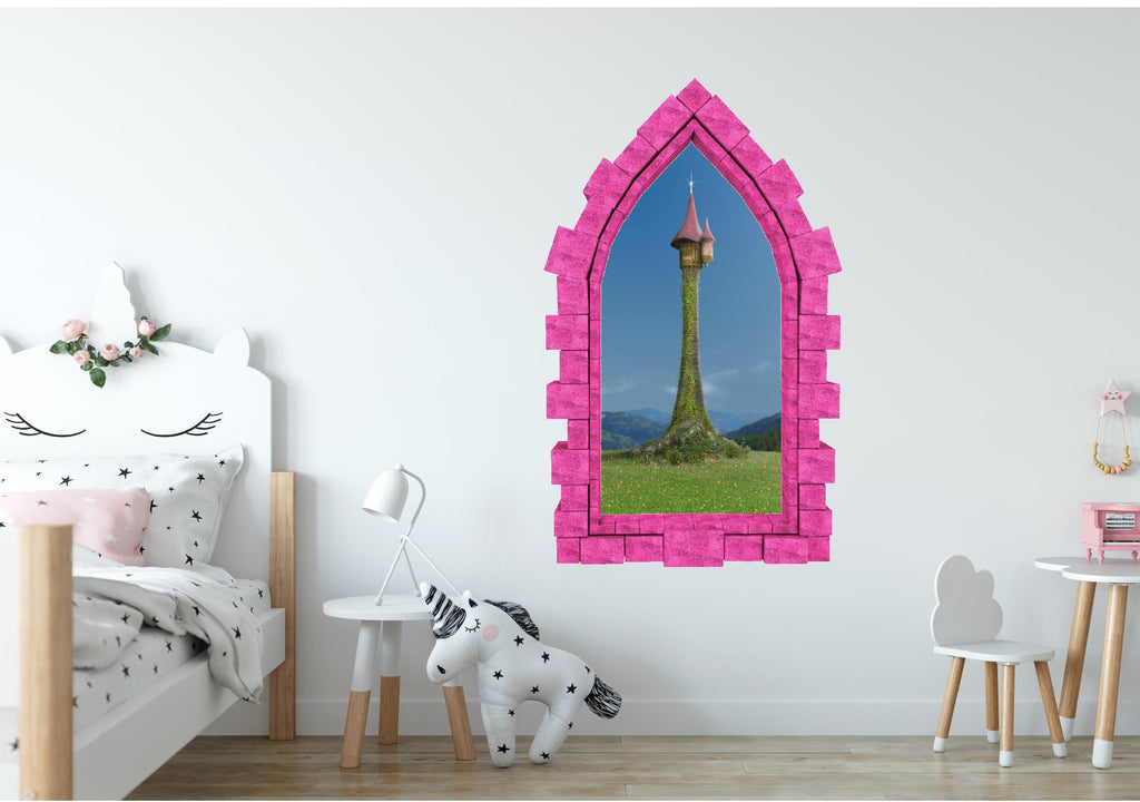 3D Castle Window Rapunzel's Castle Tower Wall Decal Princess Removable Fabric Vinyl Wall Sticker