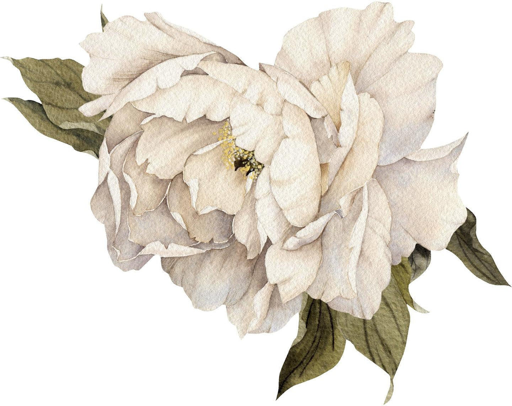 White Peony #4 with Leaves Wall Decal Removable Fabric Vinyl Flower Wall Sticker for Baby Girl Floral Nursery Room Decor