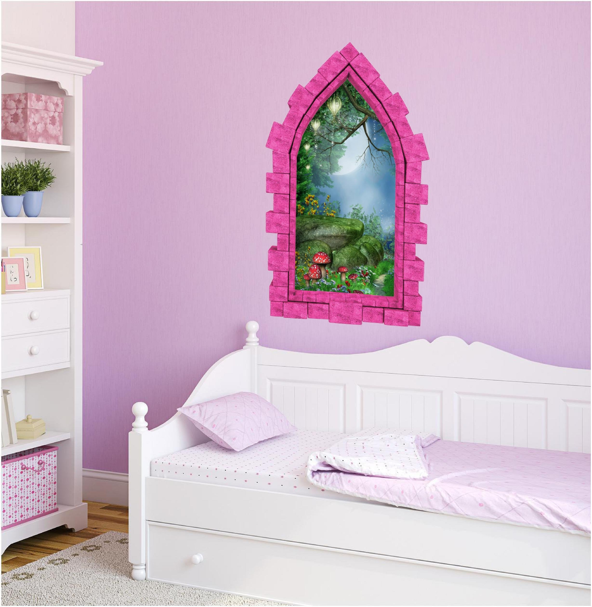 3D Castle Window Enchanted Lantern Forest Wall Decal Removable Fabric Vinyl Wall Sticker