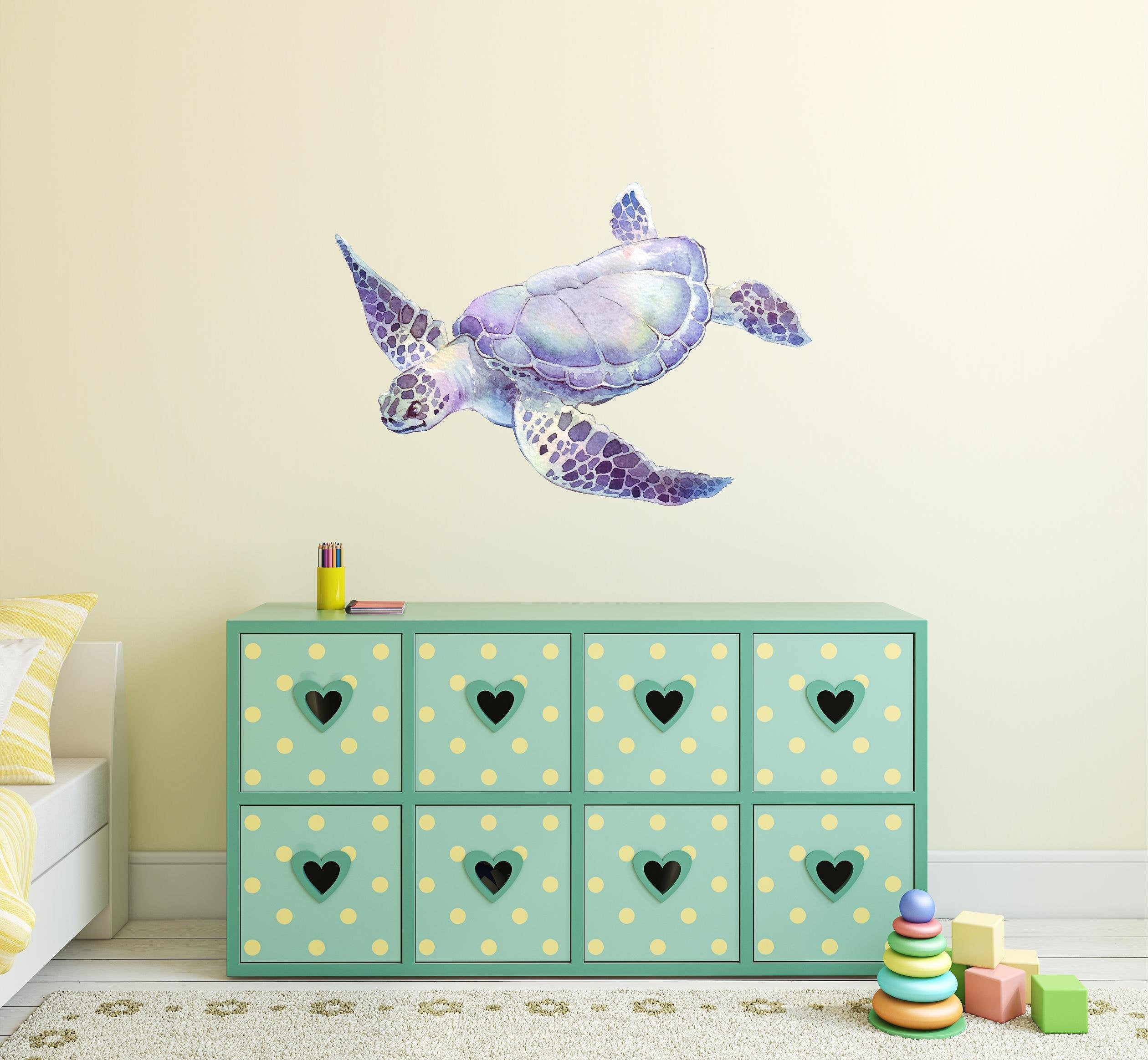 Purple Sea Turtle Wall Decal Removable Watercolor Sea Animal Fabric Vinyl Wall Sticker