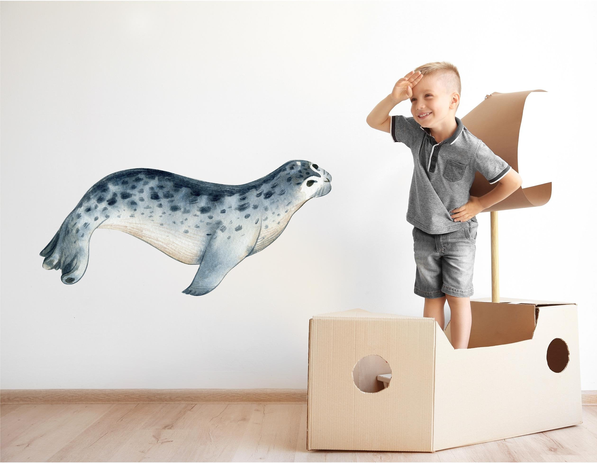 Watercolor Seal Wall Decal Removable Fabric Vinyl Navy Blue Sea Animal Wall Sticker