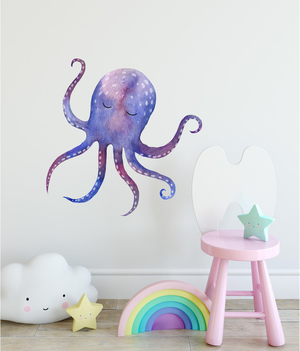 Sleepy Octopus Watercolor Wall Decal Whimsical Removable Fabric Vinyl Wall Sticker