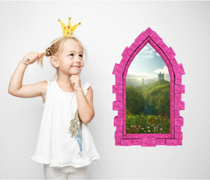 3D Castle Window Castle by the Sea Wall Decal Removable Fabric Vinyl Wall Sticker
