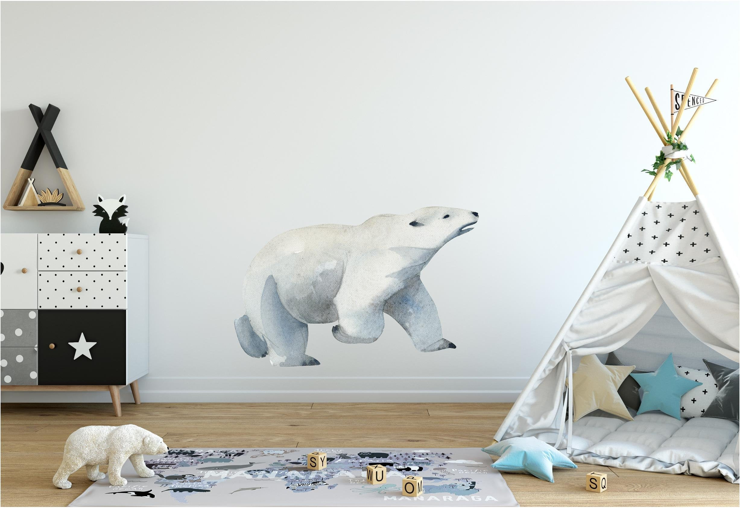 Watercolor Polar Bear Wall Decal Removable Fabric Vinyl Arctic Sea Animal Wall Sticker