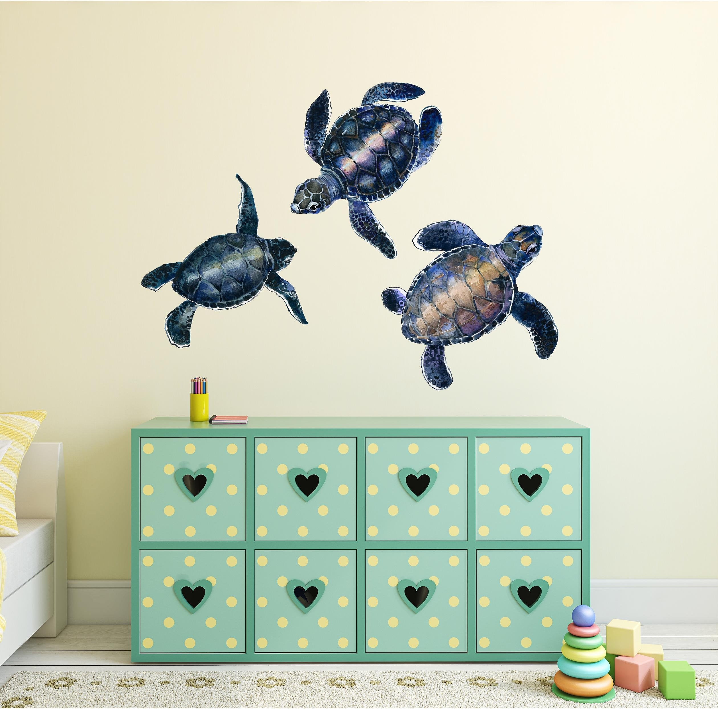 Watercolor Sea Turtles Wall Decal Set Ocean Sea Life Animals Removable Fabric Vinyl Wall Stickers