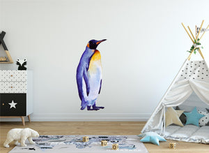 Watercolor Penguin #2 Wall Decal Removable Fabric Vinyl Arctic Sea Animal Wall Sticker