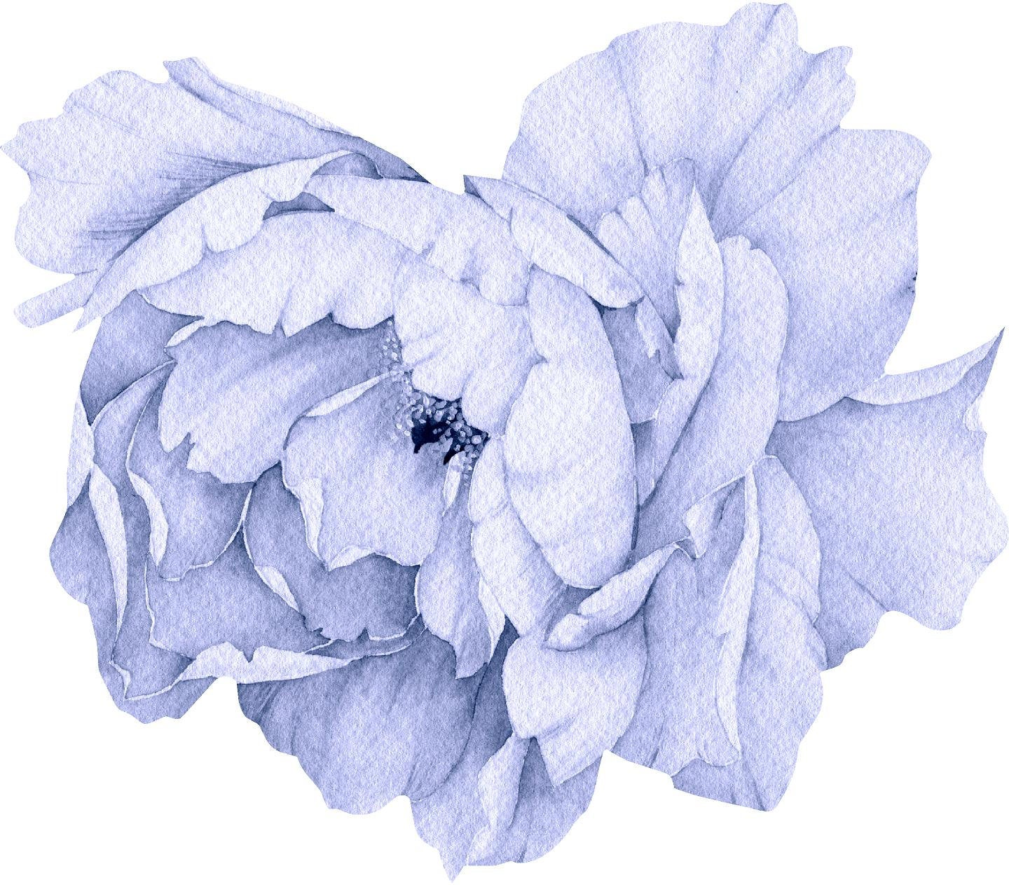 Blue Peony #13 Wall Decal Removable Fabric Vinyl Flower Wall Sticker for Baby Girl Floral Nursery Room Decor