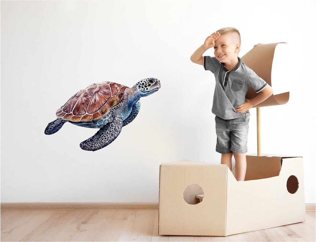 Sea Turtle #2 Wall Decal Removable Watercolor Sea Animal Fabric Vinyl Wall Sticker